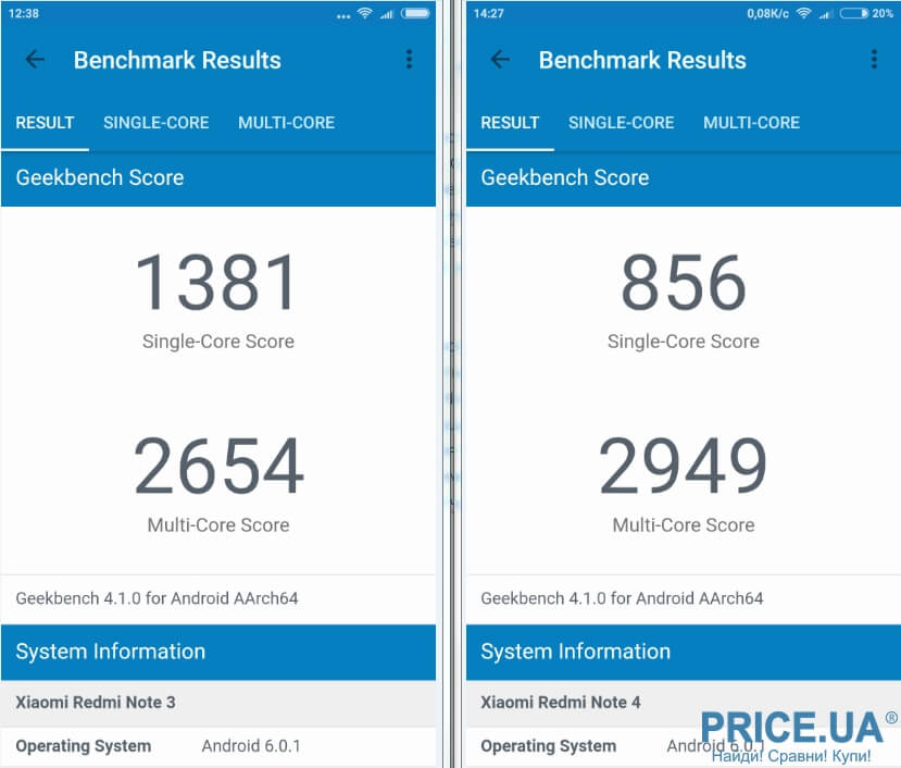 Redmi note 3 pro vs Redmi Note 4X Geekbench