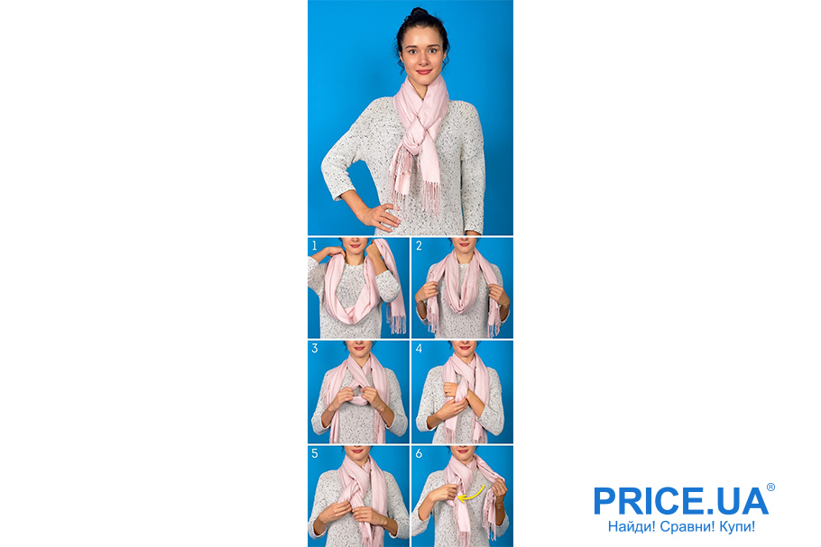 Искусство завязывать шарфы. Шарф-косичка