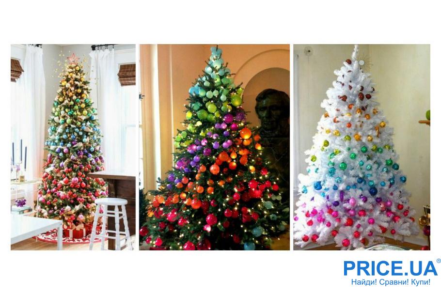 Идеи декора новогодней елки. Радужная елка