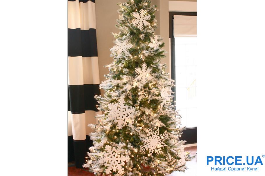 Идеи декора новогодней елки. Белые акценты