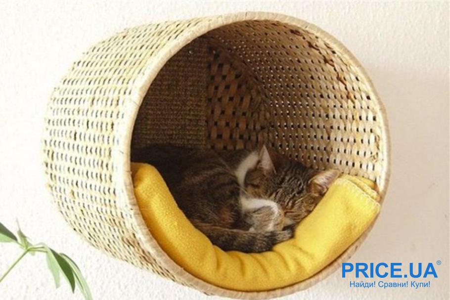 Как сделать лежак для кошки. Лежачок из старой плетеной корзинки