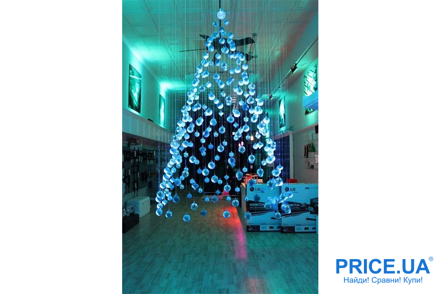 Идеи декора  офиса к новогодним празникам. Подвешенная елочка из шариков