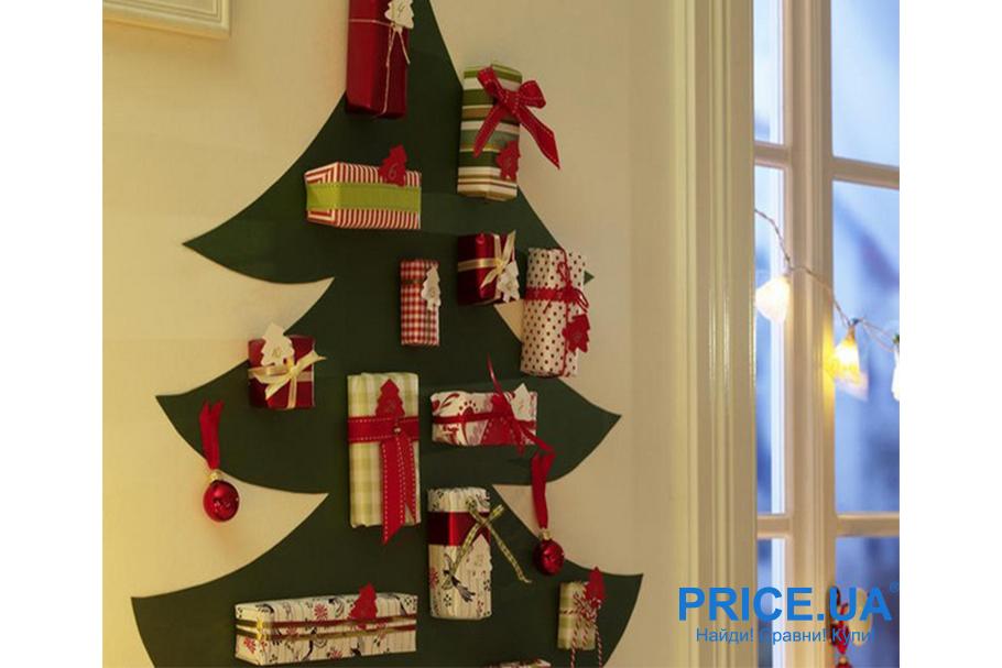 Идеи декора  офиса к новогодним празникам. Тряпичная елочка  с подарками