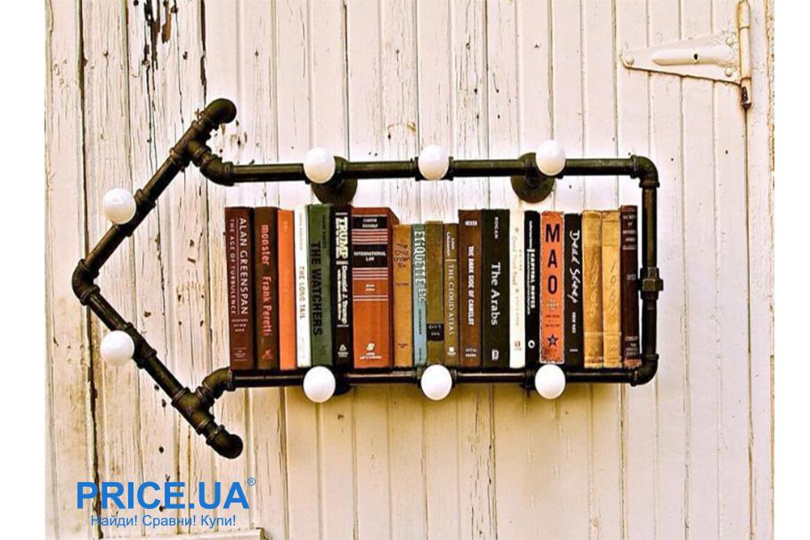 Самые креативные полки для книг селф-мейд. Книжная полка из водопроводных труб