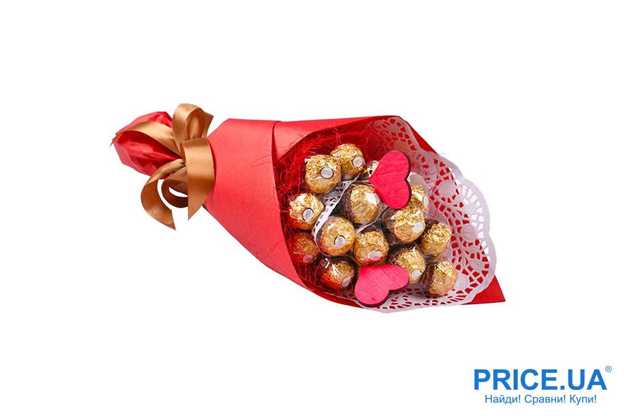 Бюджетные подарки на День всех влюбленных. Букет из конфет