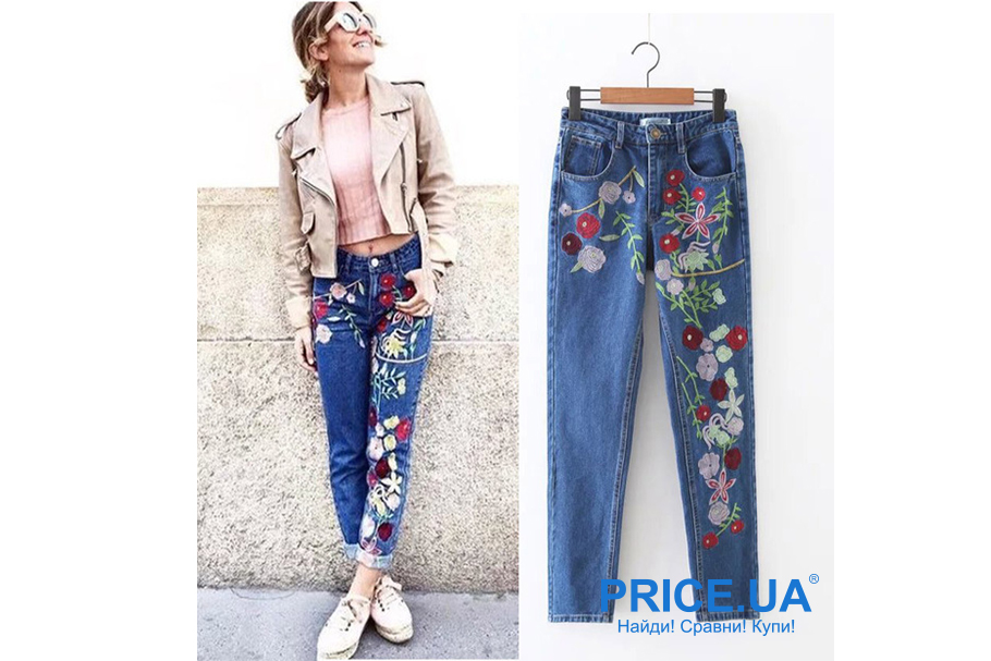 Какие джинсы купить: модные тренды весны 2019. Джинсы с вышивкой и аппликацией