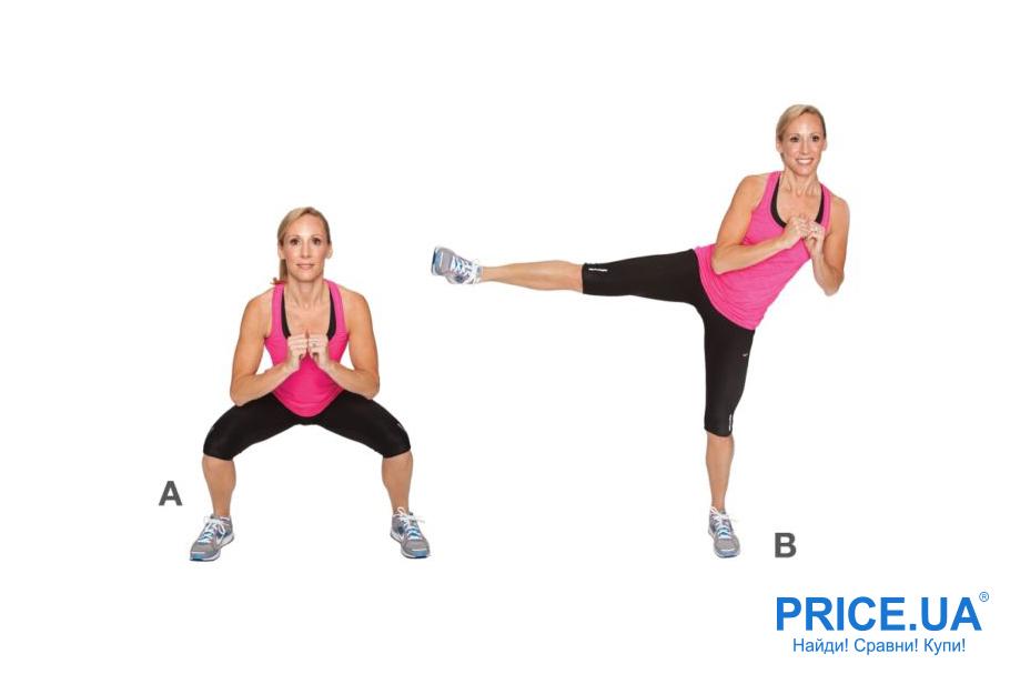 Самые эффективные упражнения для попы: приседания с отведением ноги в сторону