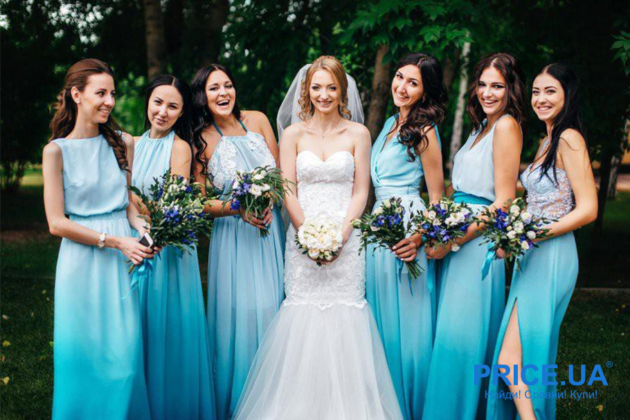 Подготовка к свадьбе: какой наряд выбрать подружкам невесты? Фасон и оттенок цвета платья могут быть разными