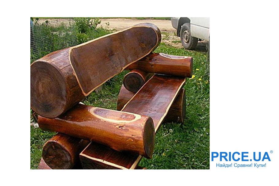 Скамейка для дачи своими руками. Креативная скамья из бревен