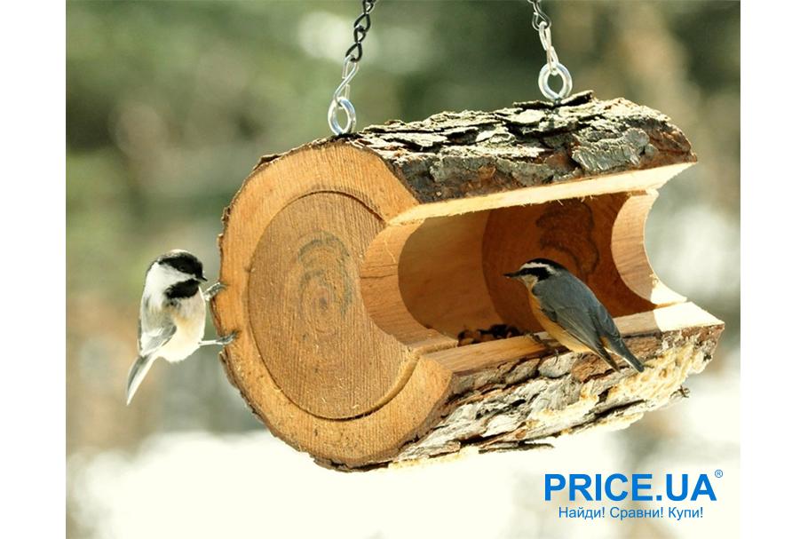 Кормушка для птиц своими руками. Оригинальное бревно