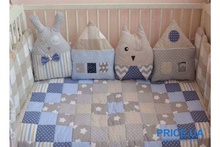 Комплект в кроватку: как сшить самой бортики-защиту? Бортики из подушек