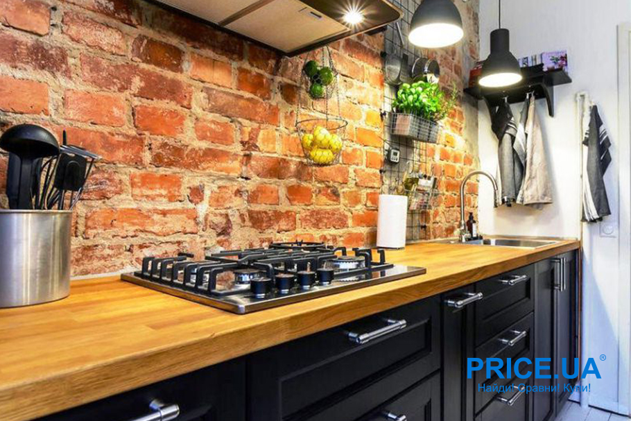 Супер-варианты кухонного фартука.  Кирпич и бетон