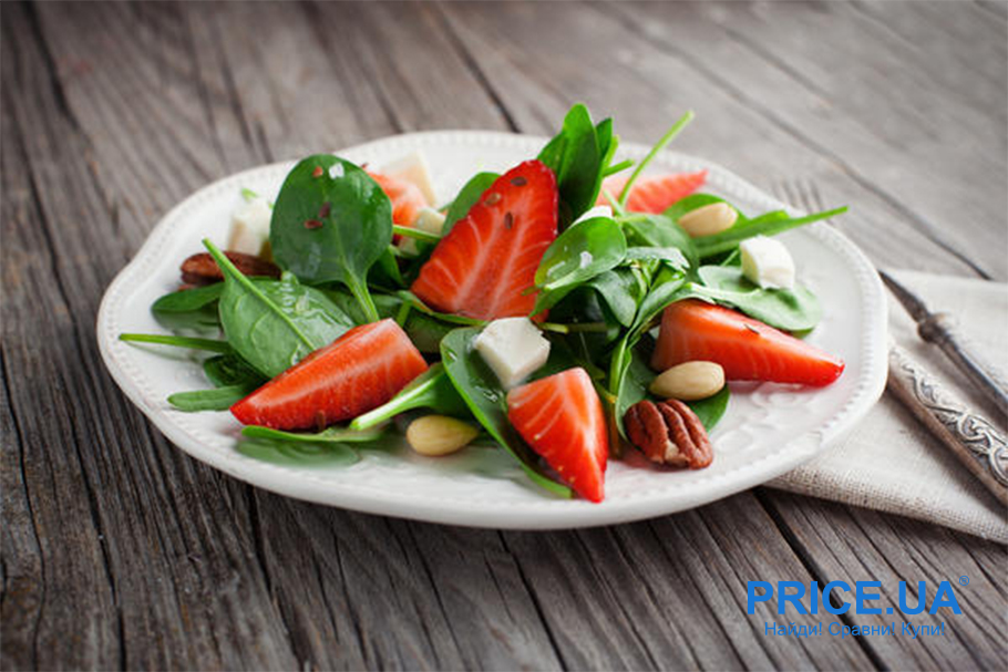 Крутые рецепты салатов с клубникой. Клубника + шпинат и сыр фета