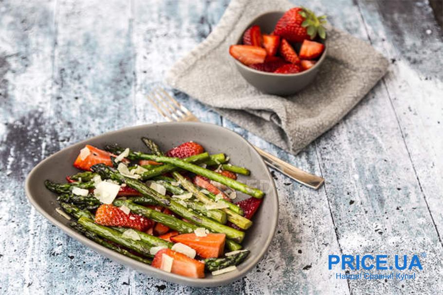 Крутые рецепты салатов с клубникой. Клубника + спаржа