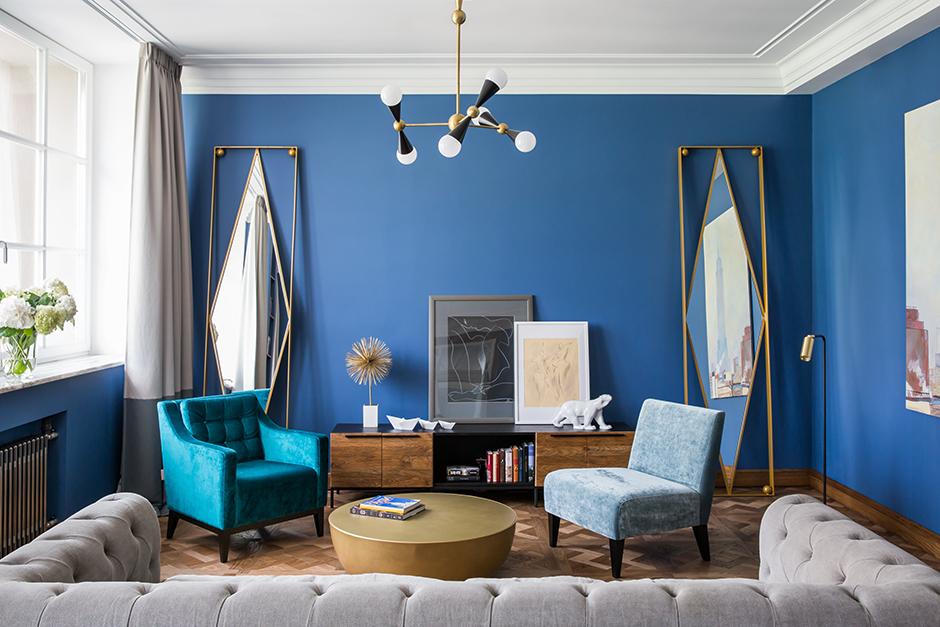 Идеи для преображения интерьера: стильно и недорого. Акцент на синем