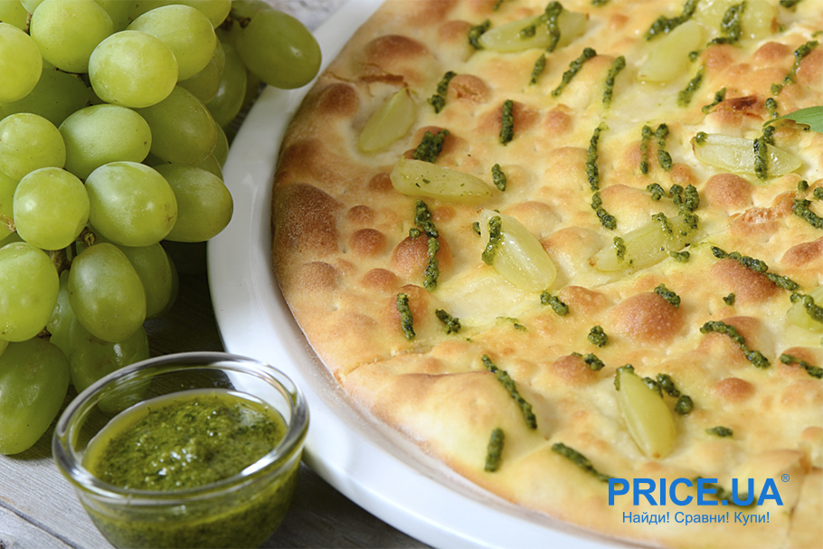 Хитовые рецепты из винограда. Пицца с сыром и виноградом